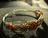 Bracelet wire wrapped silver copper bronze, mixed metal bangle