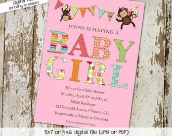 monkey baby shower invitation baby girl shower bunting banner hanging monkeys couples diaper christening (item 1321) shabby chic invitations