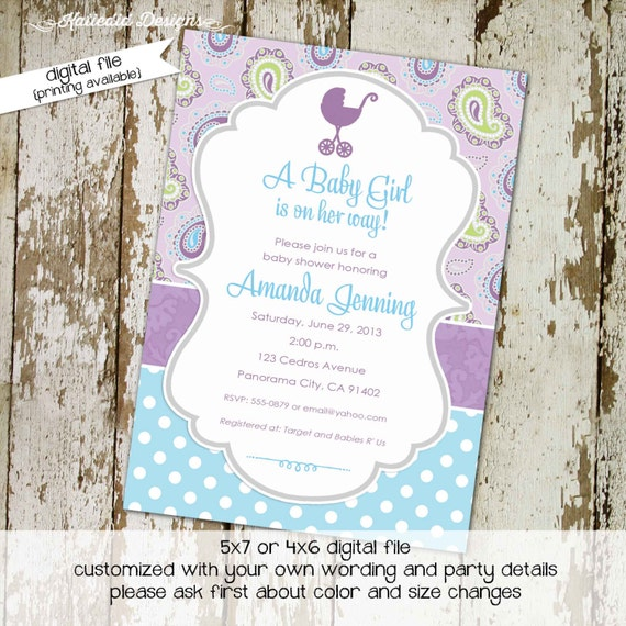 purple paisley baby shower invitations baby girl shower birthday baptism baby sprinkle sip and see book (item 1371) shabby chic invitations