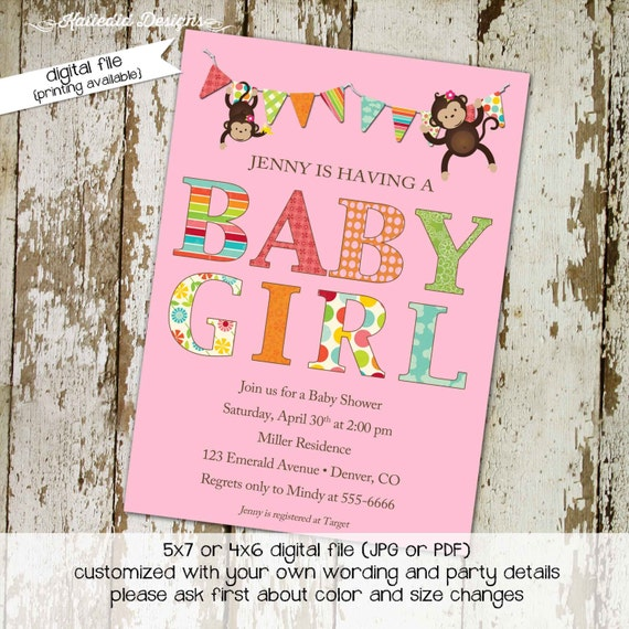 jungle monkey safari invitation shabby chic it's a girl bunting banner co-ed baby shower diaper wipe brunch two moms 1321 katiedid designs