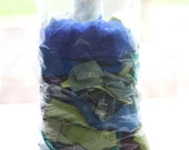 Fabric Scraps Grab Bag - Cool Colors, Blue, Lime Green, Purple, Turquoise, Teal, Lavender, Emerald