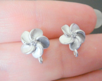 Wholesale Sterling Silver Small flower earrings Post Findings, setting, connector, 2 pc,  S54142