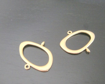 Matte Gold Single Circle Long Connector, Pendants, Charms, Earring Findings, 2 pc S54836
