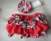 OSU Colors Ruffle Bloomers with Matching Headband  Set --  Football girl - OSU colors baby - Ohio State University Colors- baby girl