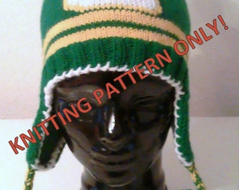 "Knitting Pattern Green and Gold ""G"" Ear Flap Hat"