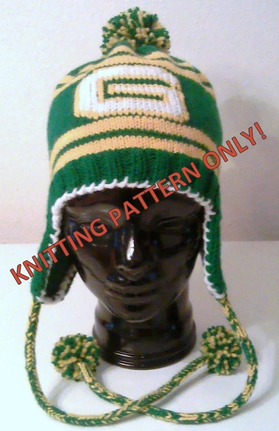 Knitting Pattern Green And Gold G Ear Flap Hat