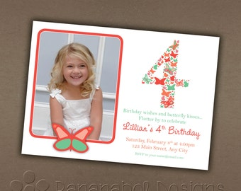 Butterflies Birthday Invitation with Photo