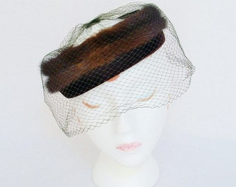 Vintage 1950s Mink Cocktail Hat with Veil