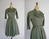Vintage 1940s Dress / Olive Green / 3 Quarter Sleeve / Full Skirt / Ruffled Chest / Elinor Gay Original