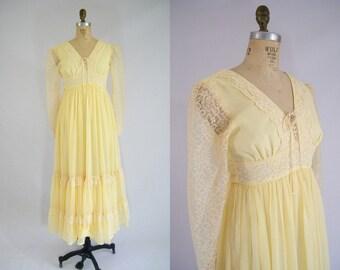 Vintage 1970s Prairie Dress / Yellow / Gunne Sax / Long Dress / Hippie Wedding / Hippie Prom Dress / Hippie Costume / Teen Pre Teen