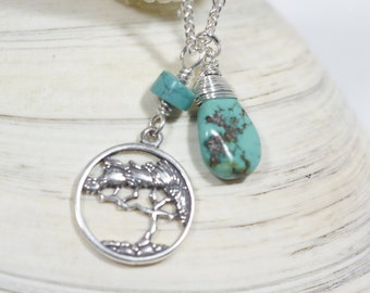 Turquoise Necklace, Tree Necklace, Birthstone Necklace - Graduation Gifts - Bridesmaid Gifts