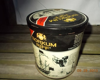 SALE-Vintage Borkum Riff 12 oz Tobacco Can-Flavored with Bourbon Whiskey for flavor - made by Swedish Tobacco Co. Stockholm, Sweden