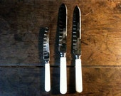 Vintage English stainless steel trio of serrated carving bread knifes cutlery circa 1940-50's / English Shop