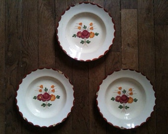 Vintage French soup plates bowls dishes x 3 circa 1950's / English Shop