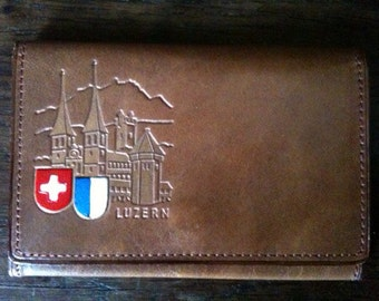 Vintage Swiss leather brown mini wallet card holder circa 1970's / English Shop