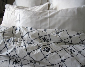 Rope Navy white plaid Nautical Duvet cover Twin/Full/Double/QUEEN/ 120x120 super King Doona cover - Anchor Bedding - sailor marine bedding