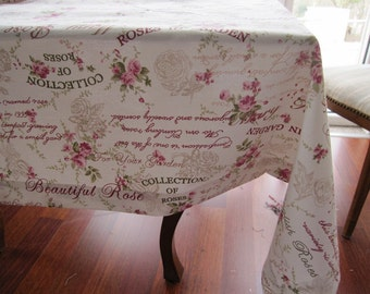 Pink floral writing duck linen square Tablecloth summer decoration kitchen table cloth,custom tablecloth