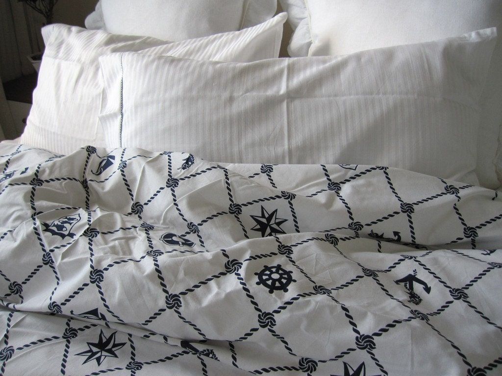 Rope Navy Plaid Nautical Duvet Cover