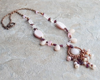 Pink opal necklace, garnet jewelry, pink and copper, wedding jewelry, october birthstone, womens fashion, gift for her, january birthstone