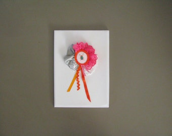 bright textile collage brooch -neon pink beetle eyecatcher broach - bright insect fun ruffled brooch - gift for her - kitsch bright brooch