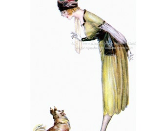 Woman with Dog Greeting Card - Lady with Pomeranian Dog