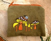 MADE to ORDER Handmade 'Shrooms & Snail' zipper pocket pouch Wallet, mp3 player, iPod Nano, one-of-a-kind