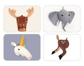Pattern Bundle Discount, DIY PDF Felt Faux Taxidermy Stuffed Animal Heads Sewing Patterns, 4 For 3