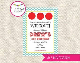 Wipe Out Birthday, Wipe Out Birthday Invitation, Summer Party, Wipe Out Printables, Wipe Out Birthday Decorations, Lauren Haddox Designs