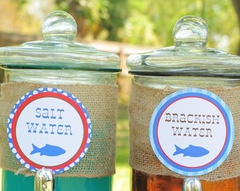 DIY Printable, Gone Fishing food/drink party circles, INSTANT DOWNLOAD