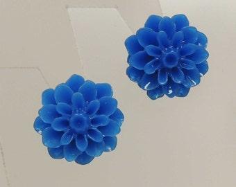Dark Blue Flower Post Earrings