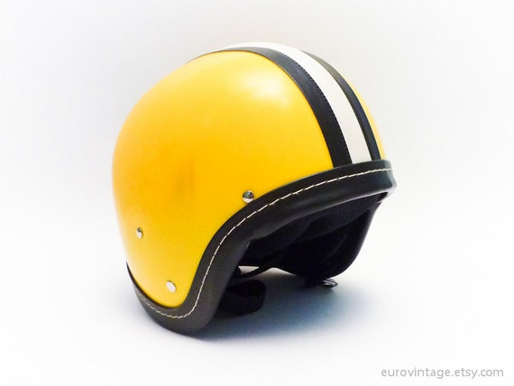 Vintage 70s motorcycle helmet yellow black white stripe deadstock
