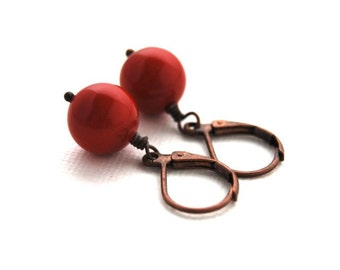 Earrings, Christmas Day, Red Berry, Swarovski Pearl, Antique, Copper, Dangle