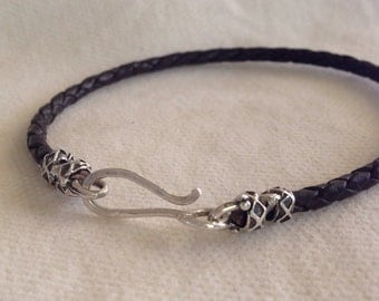 Mens Braided Leather Bracelet With Gorgeous Sterling Silver.  Hook Clasp. Recycled Silver.  The Bleu Giraffe