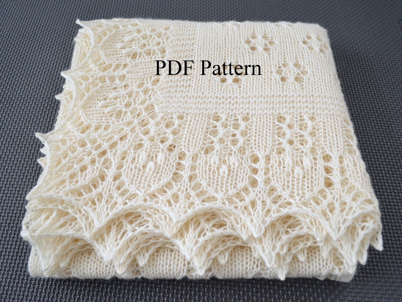 Knitting Pattern For Christening Shawl Free : Shawl pattern Forest Glade. Lace Wrap Scarf Baby