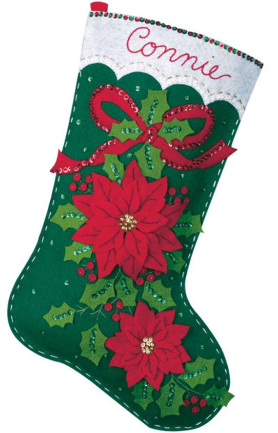 Finished Handcrafted Bucilla Felt Christmas Stocking