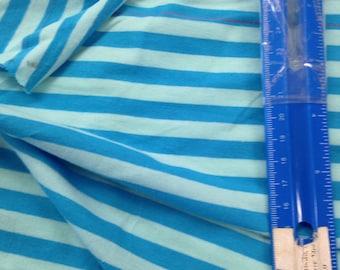 "beautiful Tone on Tone Turquoise Blue / Lt Blue apx. 3/8"" Cotton Lycra STripe Knit Fabric"