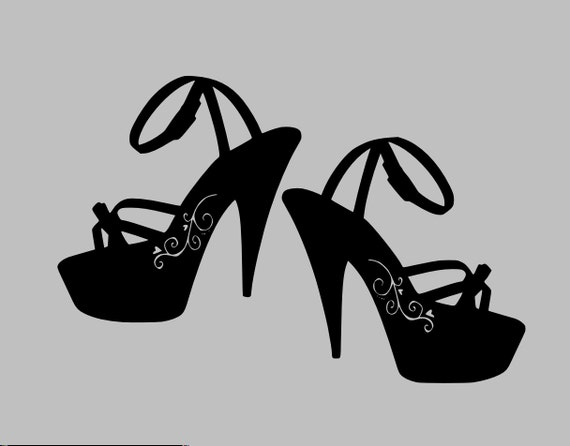 High Heels Wall Decal - Sandals Decal Shoes Decal Girly Vinyl Wall Decal