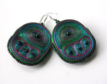 Dangle earrings green, fiber  earrings handmade - Textile jewelry OOAK ready to ship