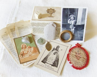 French Box Treasures Inspiration Kit 210g 7.4oz Assemblage Collage Craft Cards Religious Cream