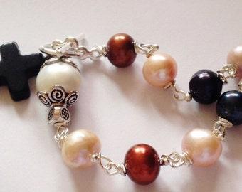 Catholic Rosary Freshwater Pearl, Crucifix, Prayer Beads, Rosary Bracelet, Pocket Rosary, Catholic Gift, 1 decade