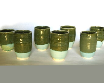 Set of Seven Forest and Sky Cups