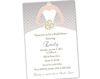 Grey Light Yellow Invitation Bride Dress Bridal Shower Invitation  Sweet 16 Invitation Quinceanera Invitation 16th 15th Printable Invitation