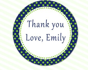 Green Polka Dots Party Thank You Tags - Navy Blue Baby Shower Favors Birthday Tags Printable Party Tags Personalized Birthday Favors