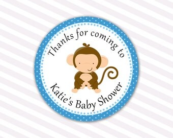 Printable Personalized Monkey Baby Shower Thank You Tags - Blue Polka Dots Jungle Baby Shower Favors Party Favors Baby Shower Party Items