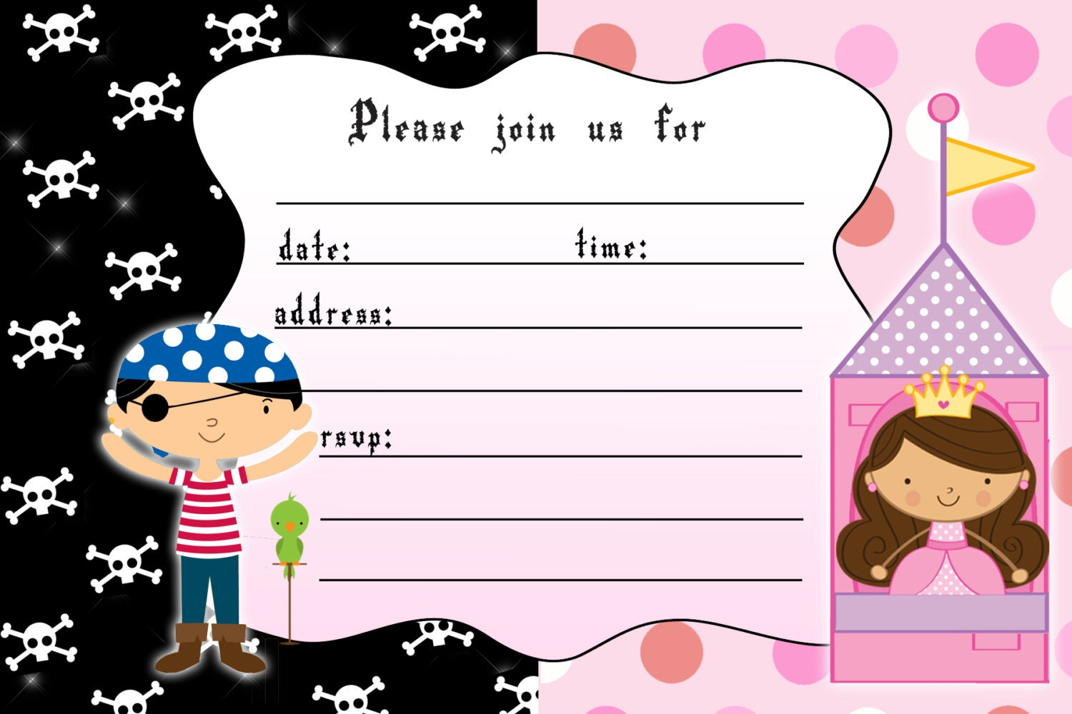 princess and pirate invitation templates com princess birthday invitation girl pirate boy by pinkthecat