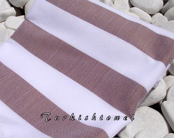 Best Quality Hand Woven Turkish Cotton Bath Towel or Sarong-White and Brown