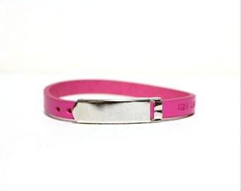 Single Wrap Minimal Leather Bracelet(PINK)