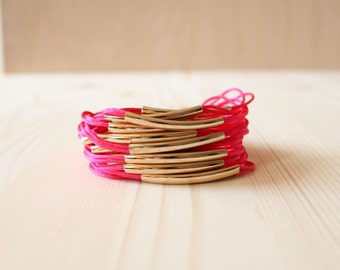 Silky Strap Bracelet with 18K Gold Plated Tube(HOT PINK)
