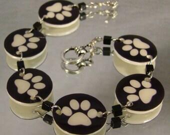 Black and White Paw Print Charm Bracelet