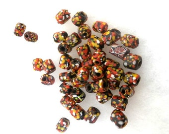 Multicolored Glass beads Tubular Lot of 43 beads